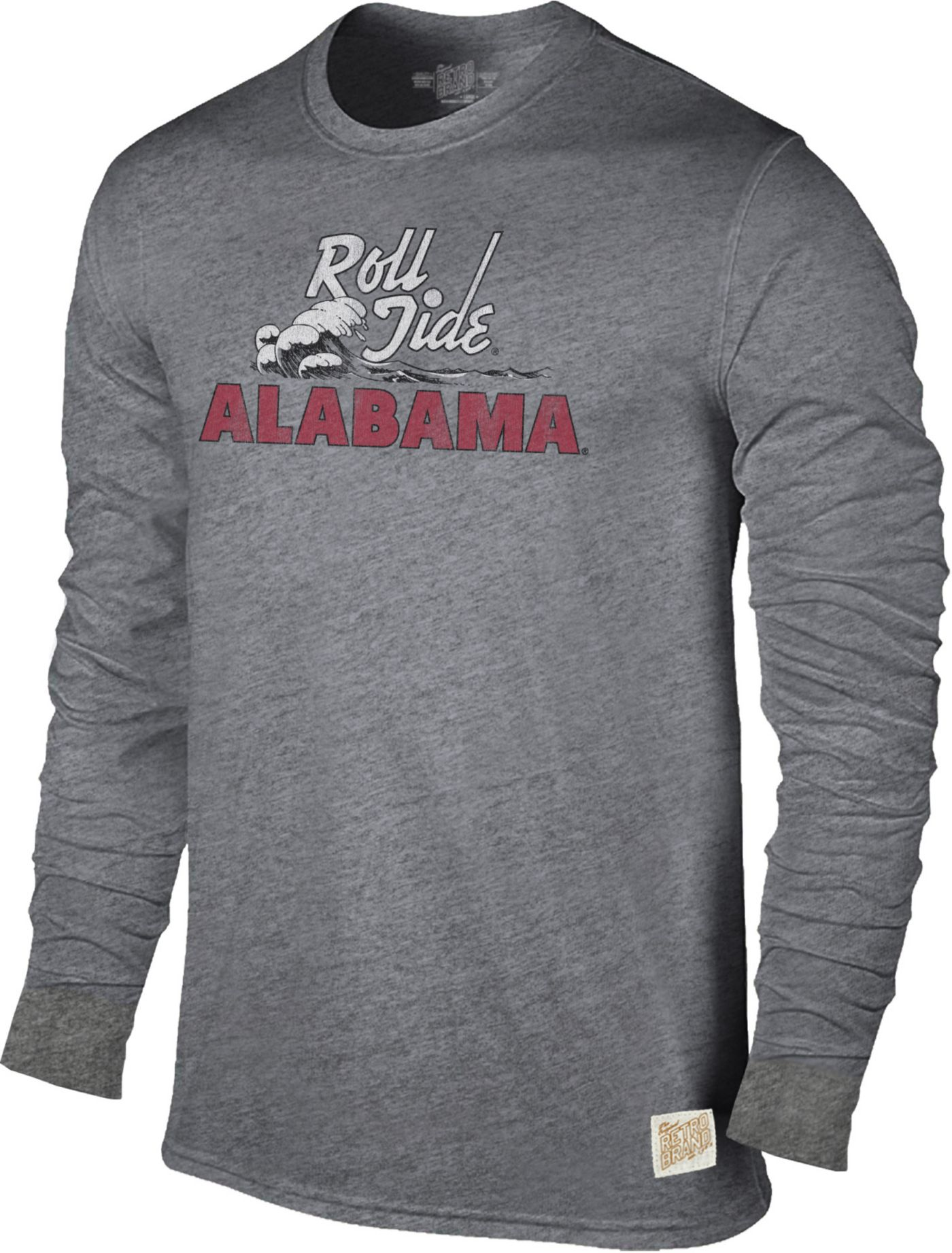 Original Retro Brand Men's Alabama Crimson Tide Grey Tri-Blend Long Sleeve T-Shirt
