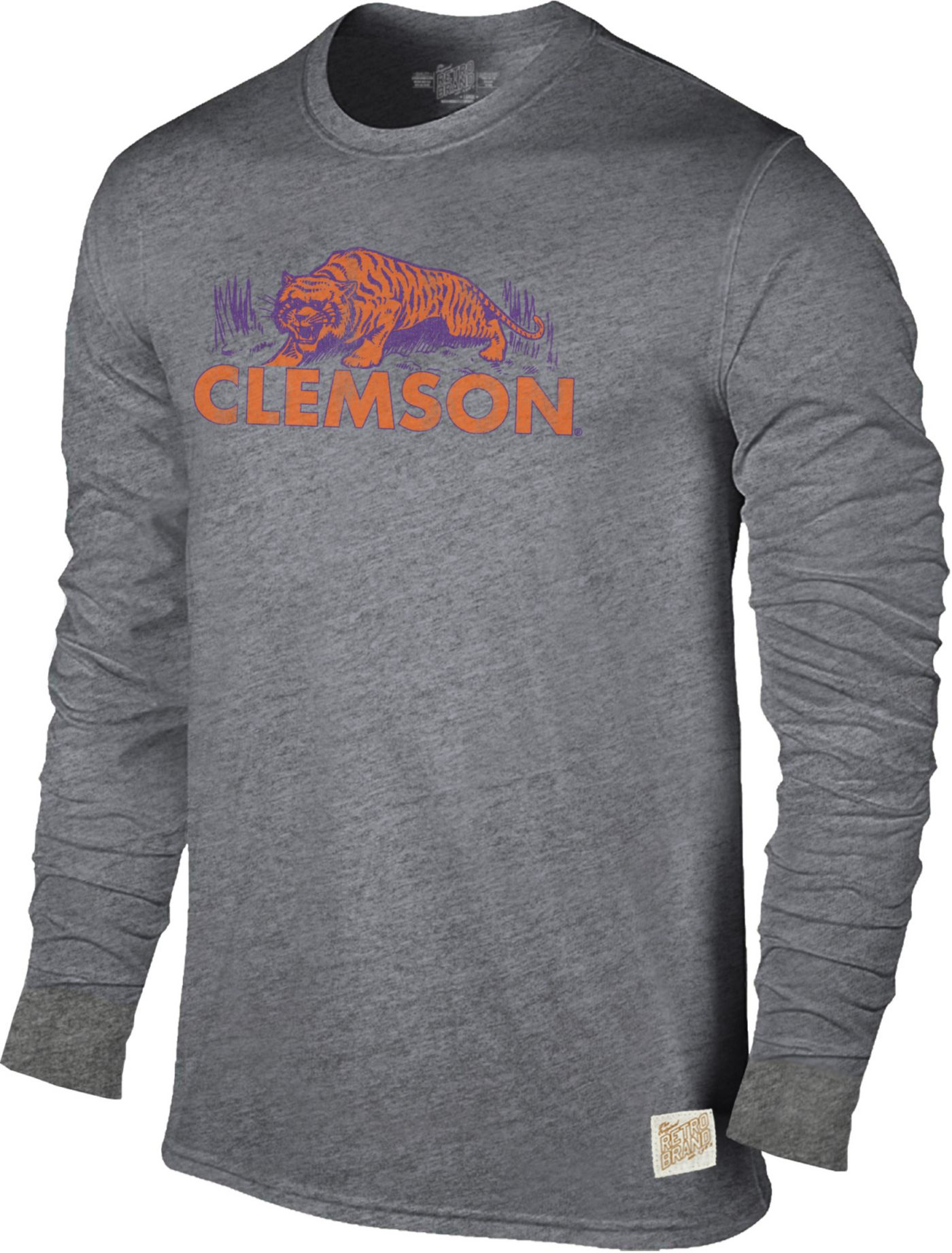 Original Retro Brand Men's Clemson Tigers Grey Tri-Blend Long Sleeve T-Shirt