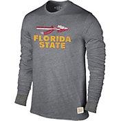 Original Retro Brand Men's Florida State Seminoles Grey Tri-Blend Long Sleeve T-Shirt