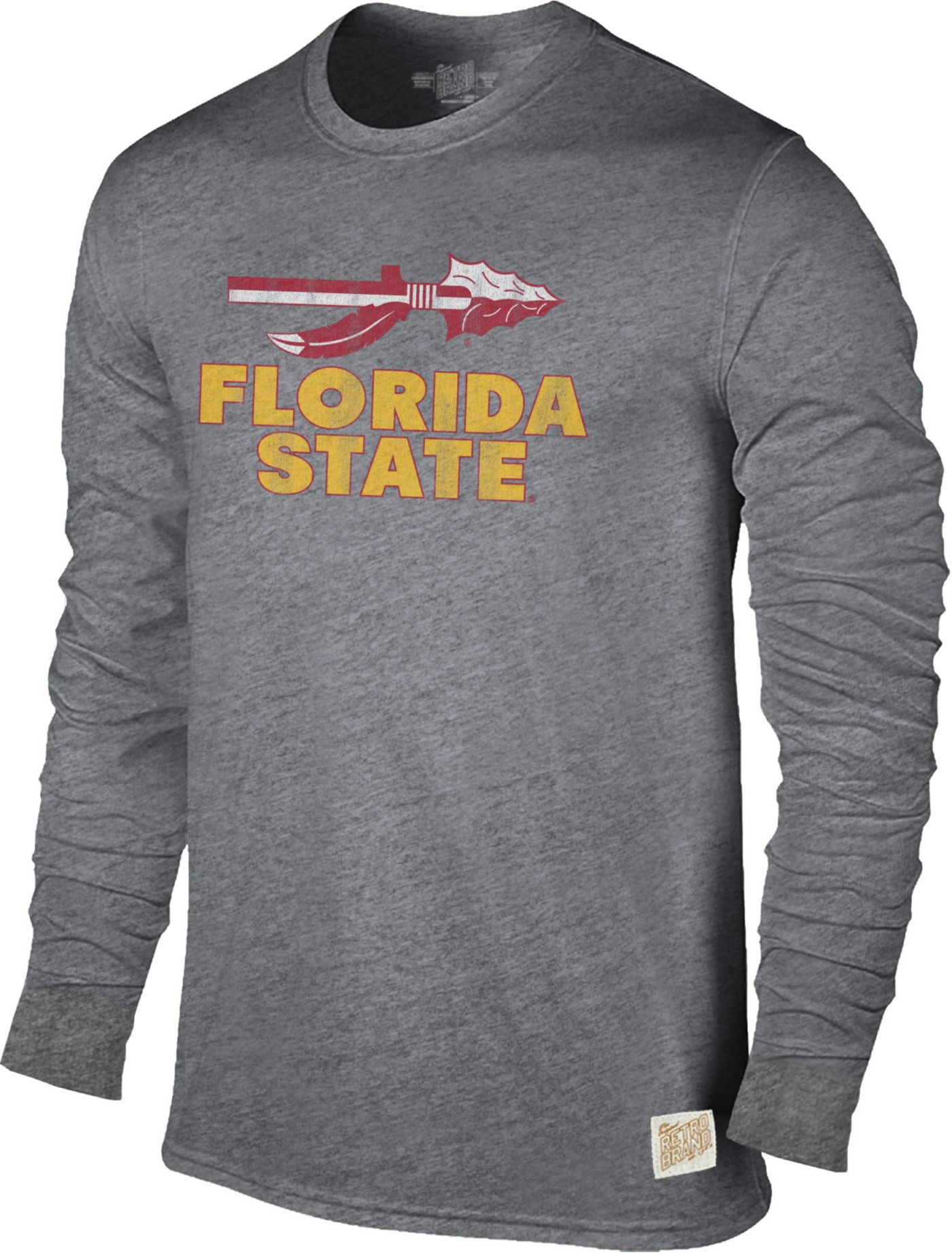 Original Retro Brand Men's Florida State Seminoles Grey Tri-Blend Long Sleeve T-Shirt