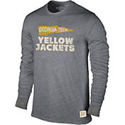 Original Retro Brand Men's Georgia Tech Yellow Jackets Grey Tri-Blend Long Sleeve T-Shirt