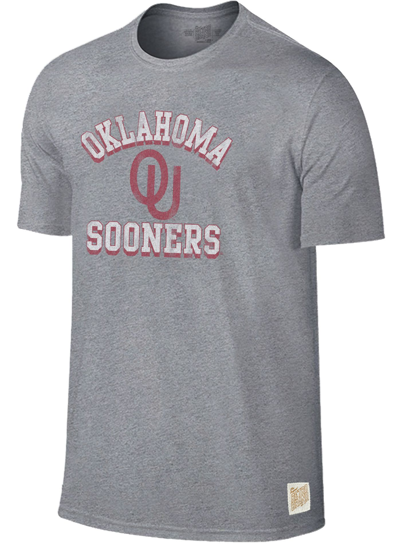 Original Retro Brand Men's Oklahoma Sooners Grey Mock Twist T-Shirt