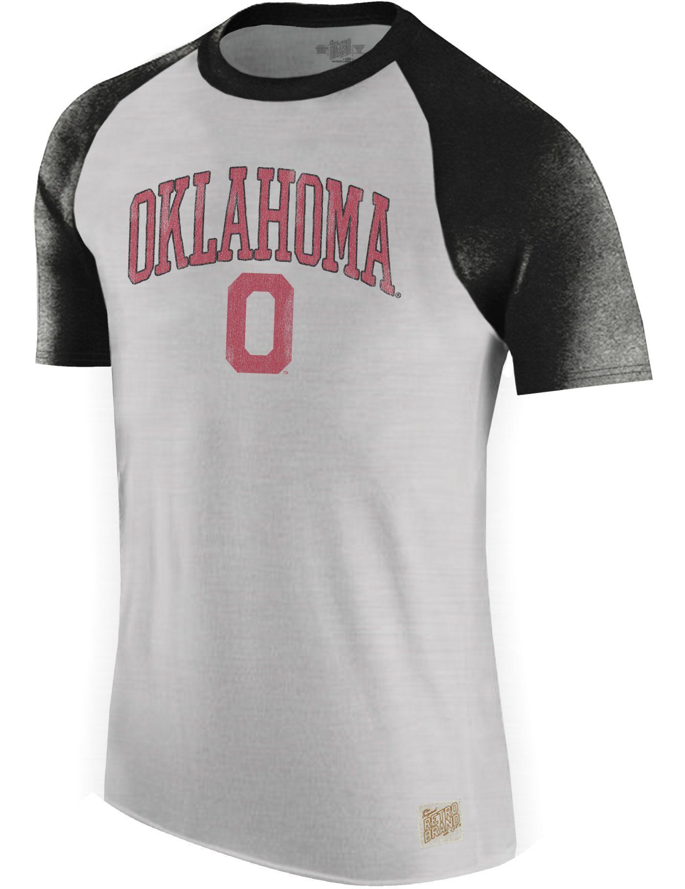 Original Retro Brand Men's Oklahoma Sooners Grey/Black Raglan T-Shirt