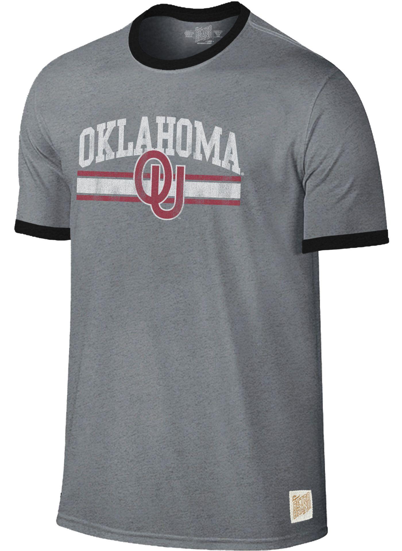 Original Retro Brand Men's Oklahoma Sooners Grey Ringer T-Shirt