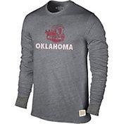 Original Retro Brand Men's Oklahoma Sooners Grey Tri-Blend Long Sleeve T-Shirt