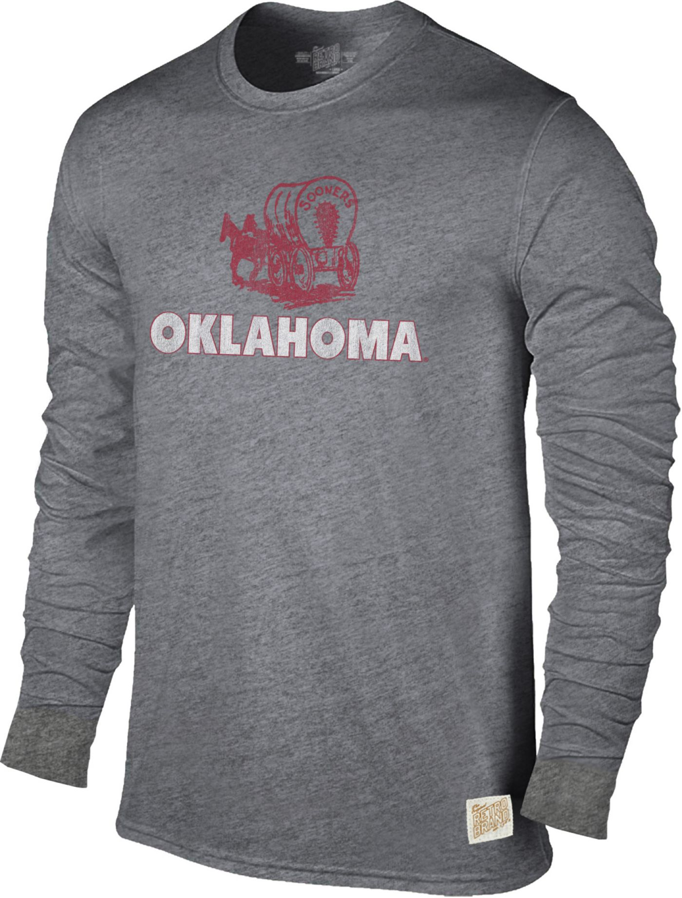 Original Retro Brand Men's Oklahoma Sooners Grey Tri-Blend Long Sleeve T-Shirt