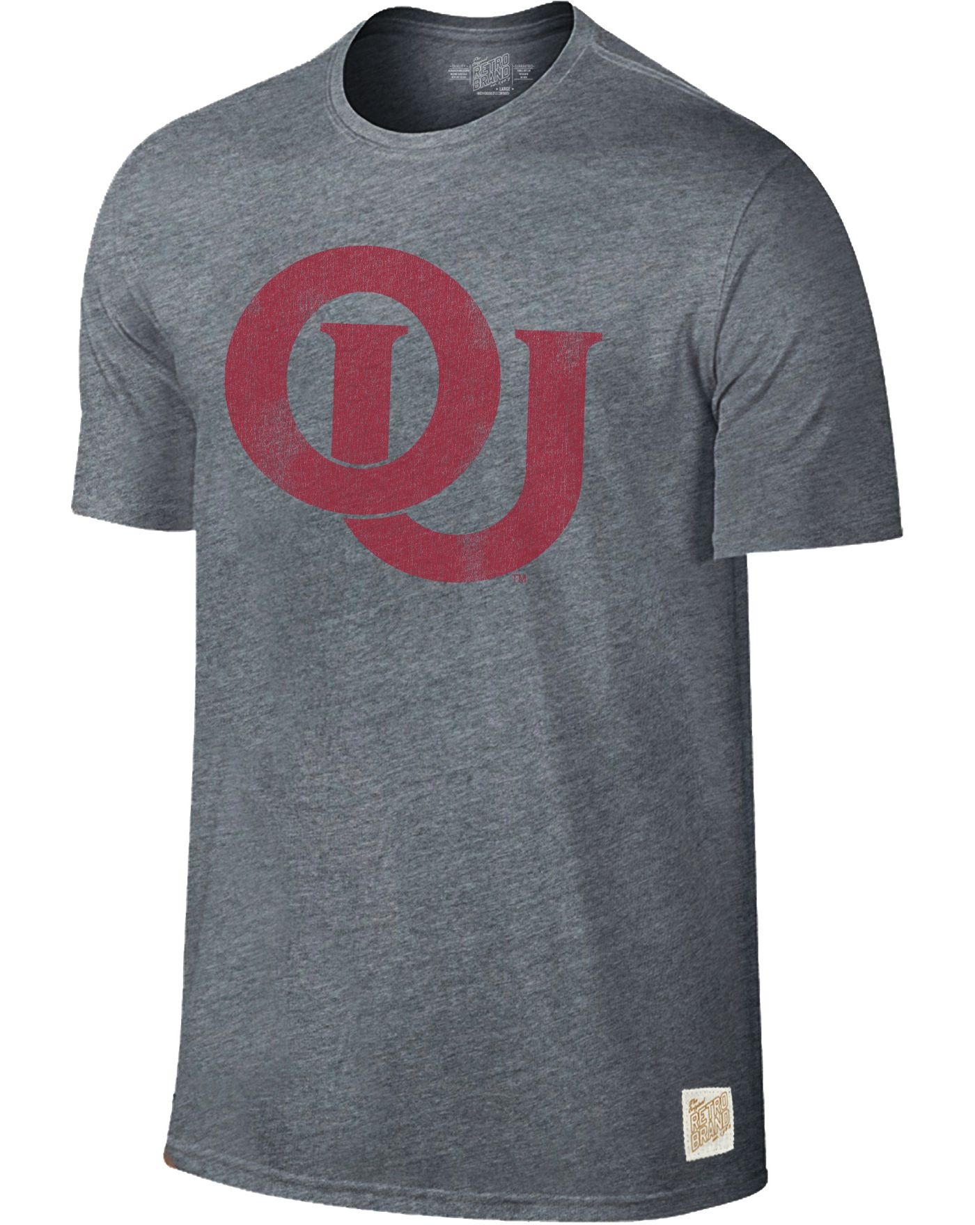 Original Retro Brand Men's Oklahoma Sooners Grey Retro Tri-Blend T-Shirt