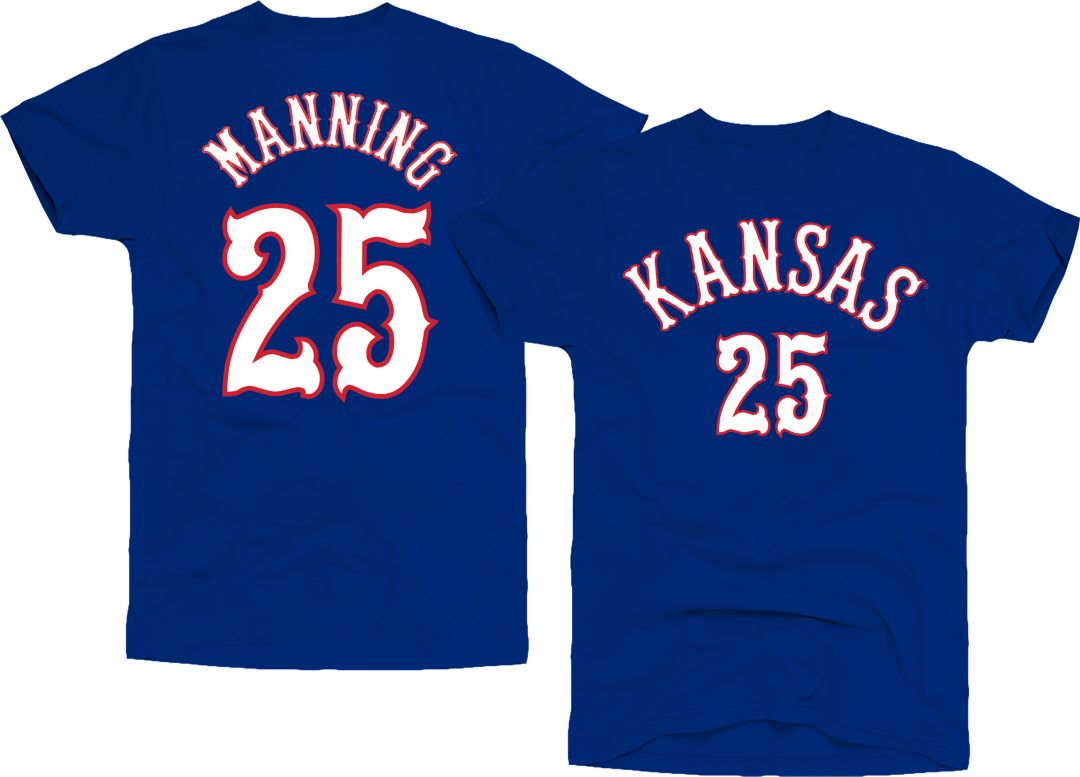 first rate e1d82 d9d86 Original Retro Brand Men's Kansas Jayhawks Danny Manning #25 Blue  Basketball Jersey T-Shirt