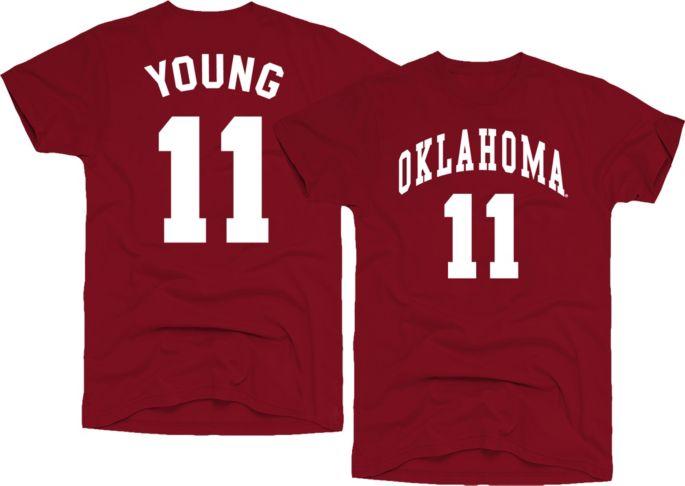 detailed look 6d22f 032d9 Original Retro Brand Men's Oklahoma Sooners Trae Young #11 Crimson  Basketball Jersey T-Shirt