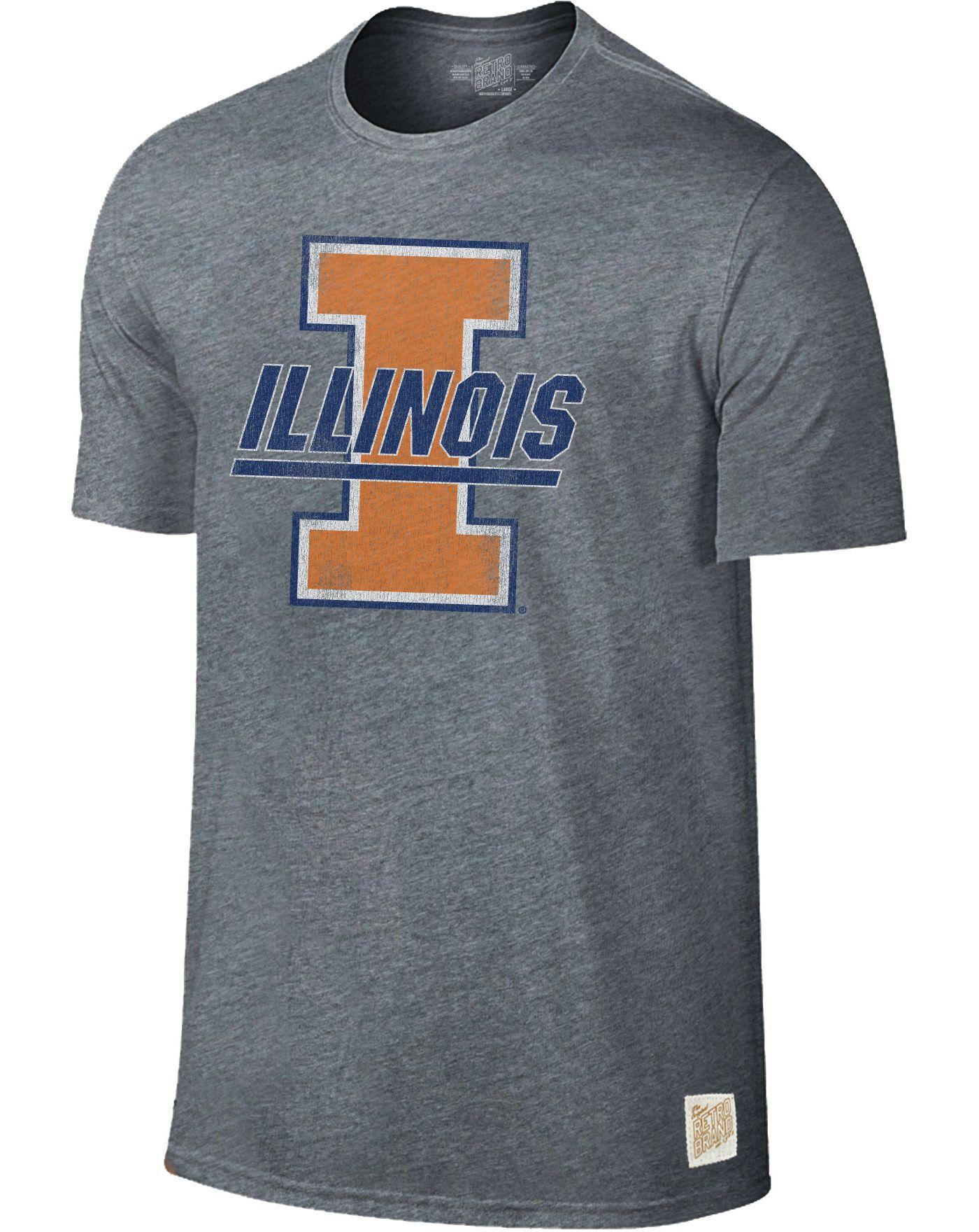 Original Retro Brand Men's Illinois Fighting Illini Grey Retro Tri-Blend T-Shirt