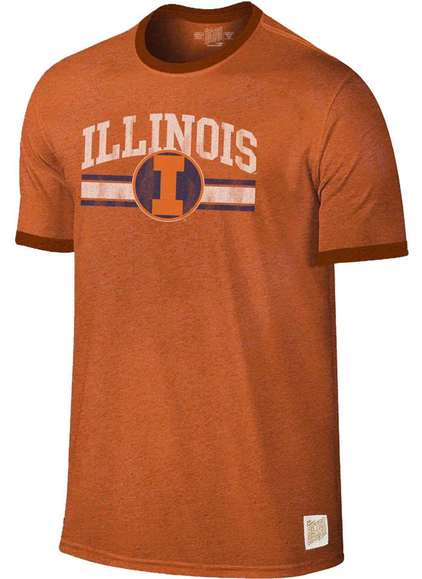 Original Retro Brand Men's Illinois Fighting Illini Orange Ringer T-Shirt