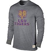 Original Retro Brand Men's LSU Tigers Grey Tri-Blend Long Sleeve T-Shirt