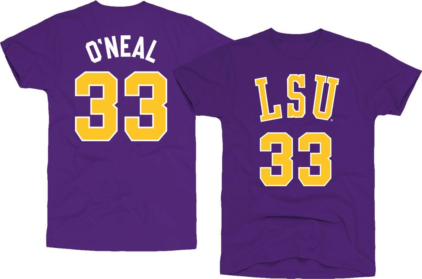 Original Retro Brand Men's LSU Tigers Shaquille O'Neal #33 Purple Basketball Jersey T-Shirt