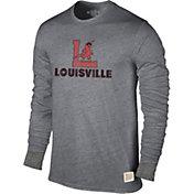 Original Retro Brand Men's Louisville Cardinals Grey Tri-Blend Long Sleeve T-Shirt