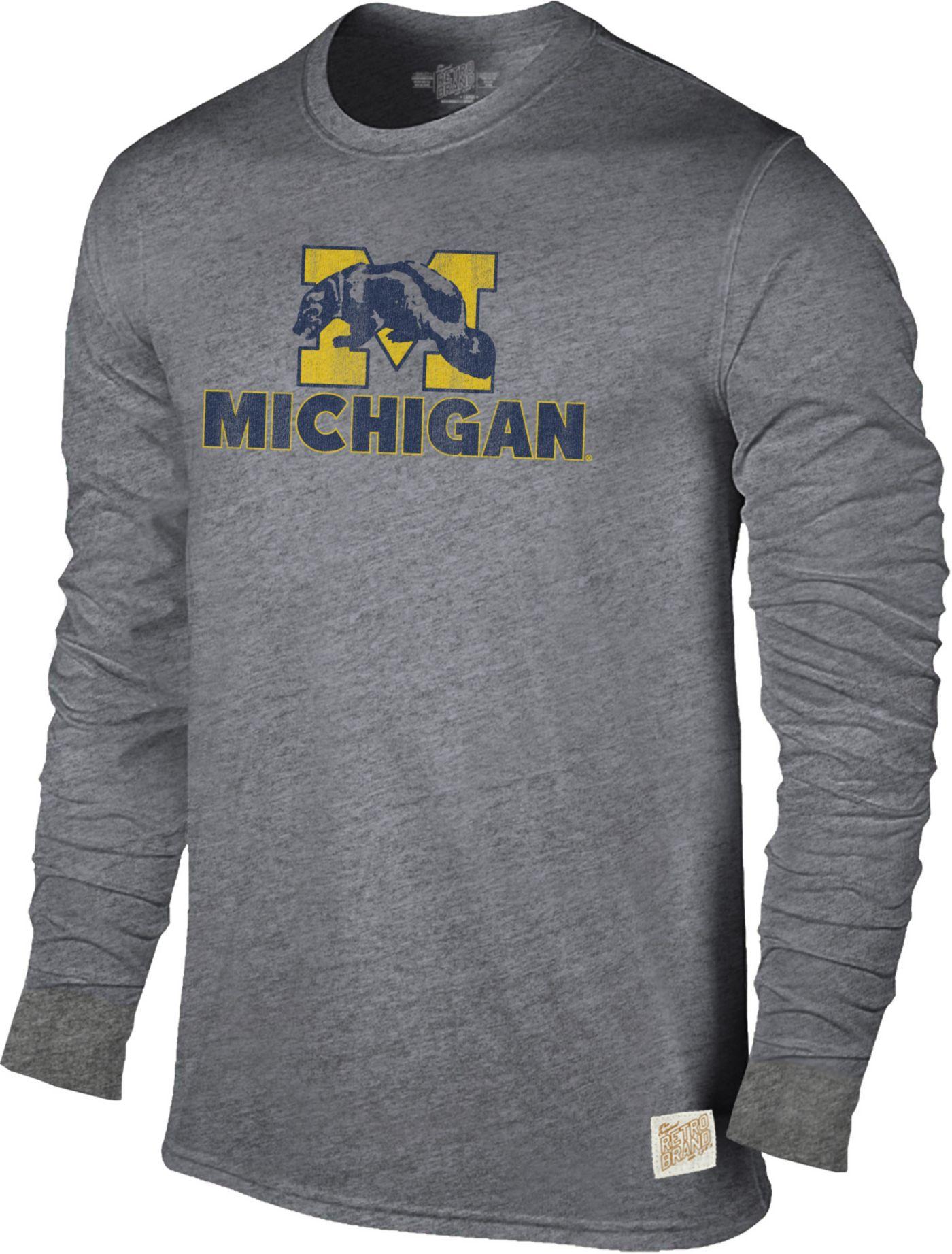 Original Retro Brand Men's Michigan Wolverines Grey Tri-Blend Long Sleeve T-Shirt