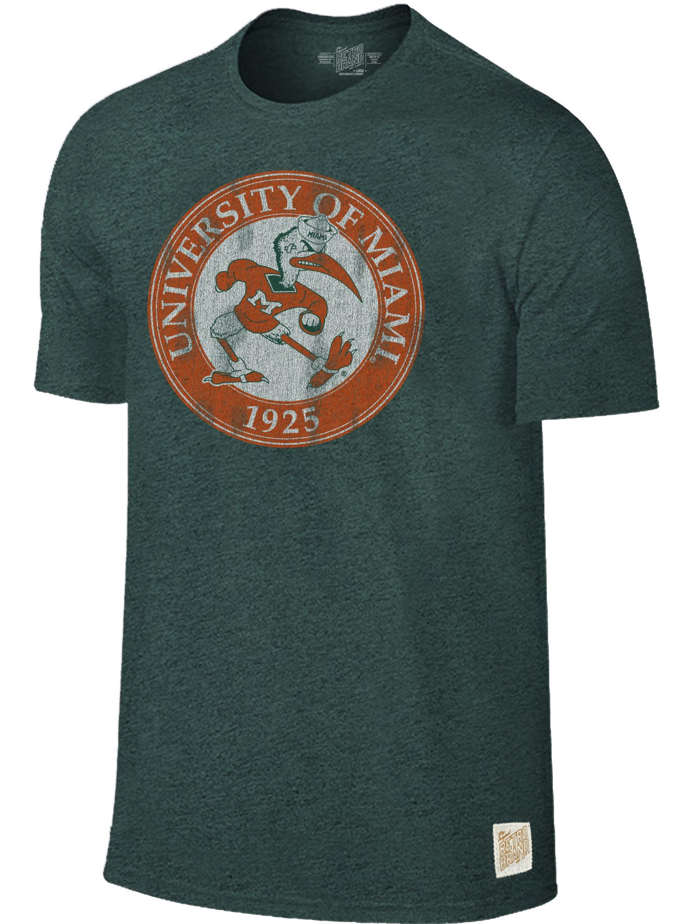 Original Retro Brand Men's Miami Hurricanes Green Mock Twist T-Shirt