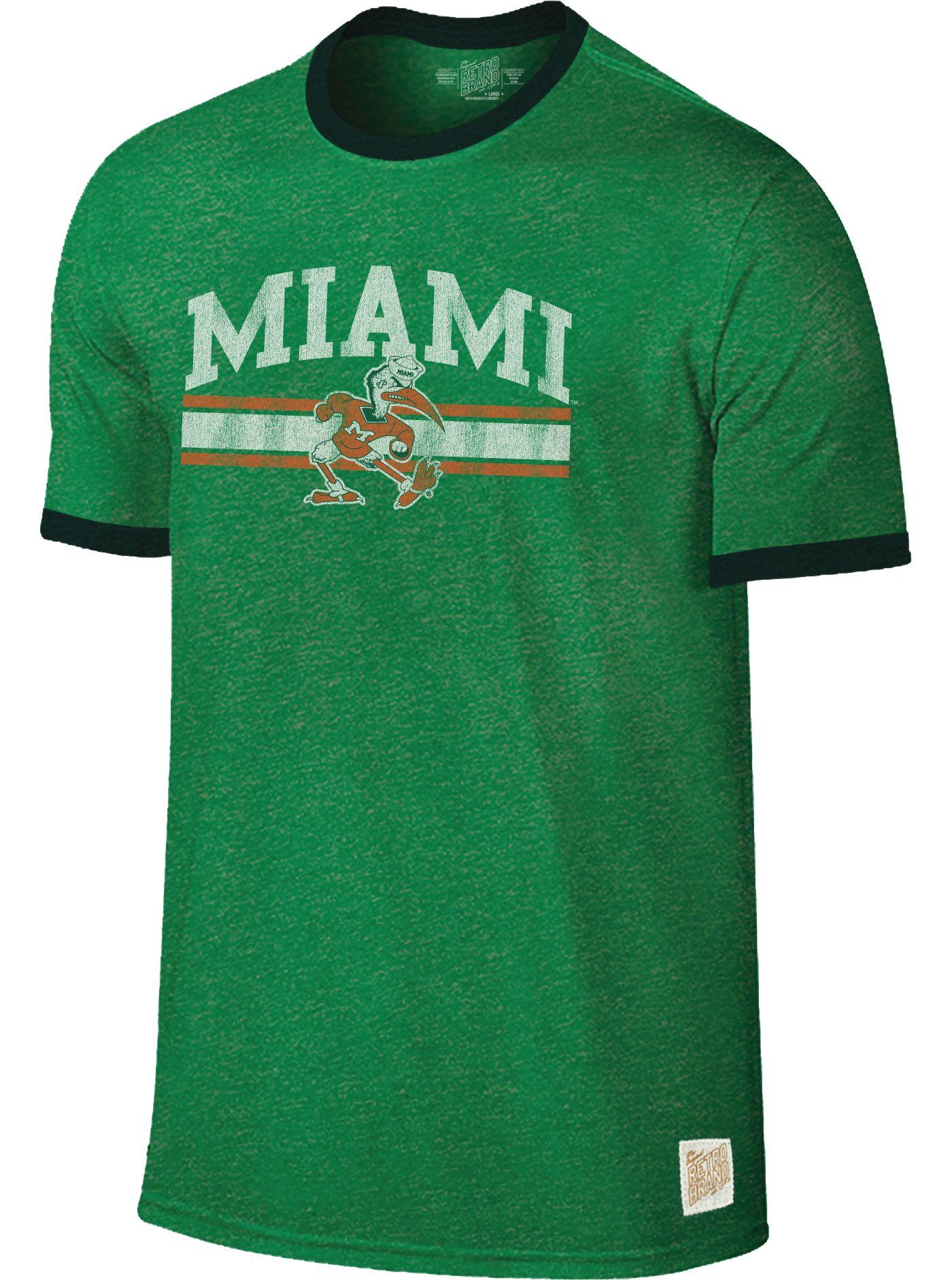 Original Retro Brand Men's Miami Hurricanes Green Ringer T-Shirt
