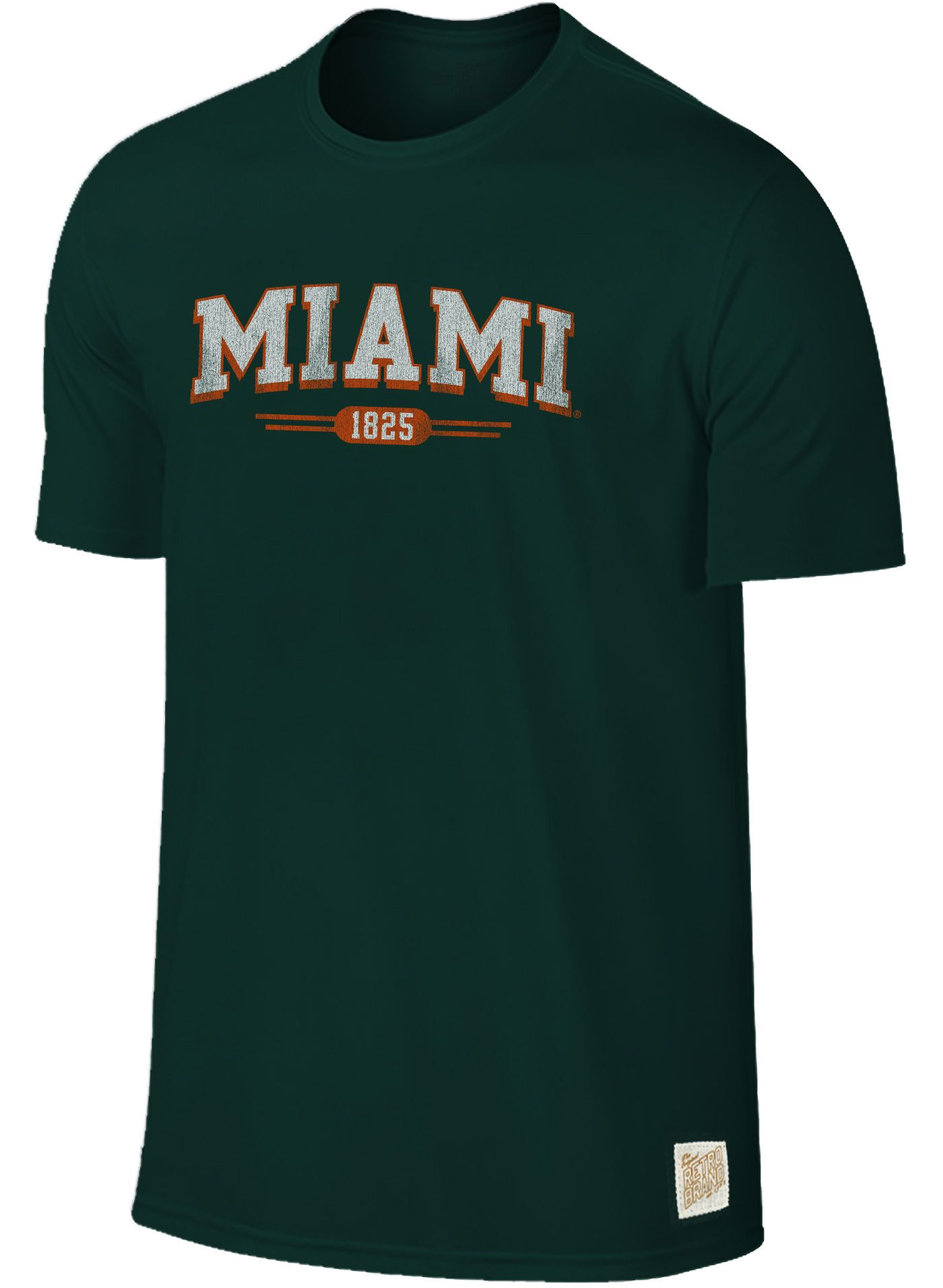 Original Retro Brand Men's Miami Hurricanes Green Slub T-Shirt