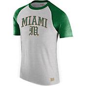 Original Retro Brand Men's Miami Hurricanes Grey/Green Raglan T-Shirt