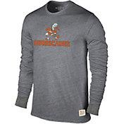 Original Retro Brand Men's Miami Hurricanes Grey Tri-Blend Long Sleeve T-Shirt