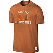 Original Retro Brand Men's Miami Hurricanes Orange Tri-Blend T-Shirt
