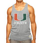 Original Retro Brand Men's Miami Hurricanes Grey Retro Mock Twist Tank Top