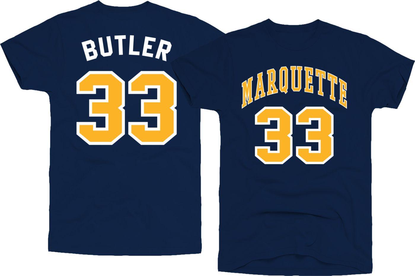 Original Retro Brand Men's Marquette Golden Eagles Jimmy Butler #33 Blue Basketball Jersey T-Shirt