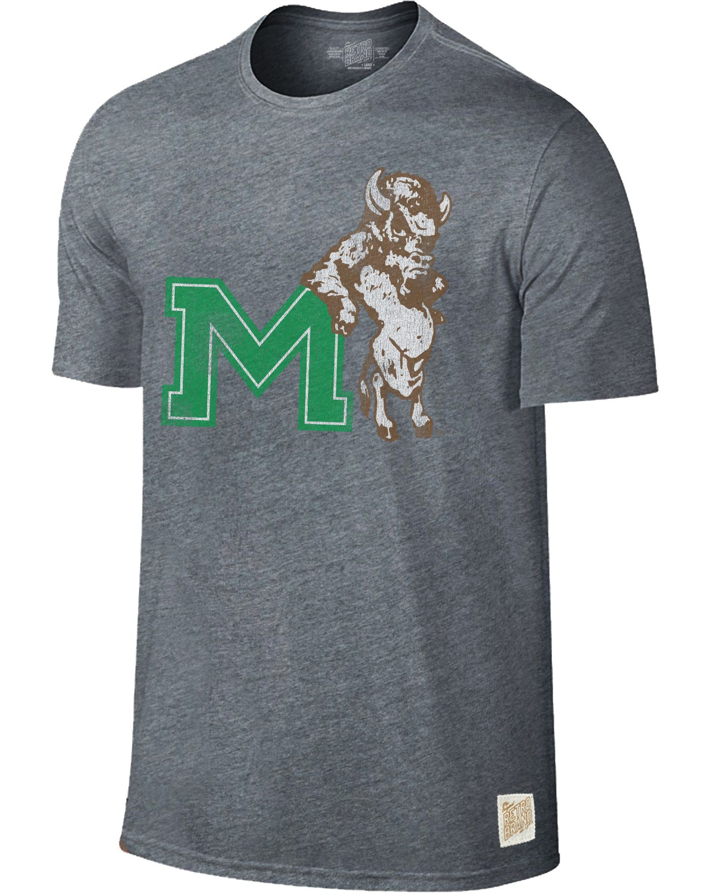 Original Retro Brand Men's Marshall Thundering Herd Grey Retro Tri-Blend T-Shirt