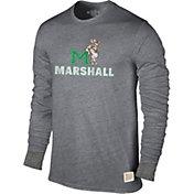 Original Retro Brand Men's Marshall Thundering Herd Grey Tri-Blend Long Sleeve T-Shirt