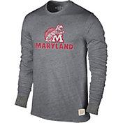 Original Retro Brand Men's Maryland Terrapins Grey Tri-Blend Long Sleeve T-Shirt