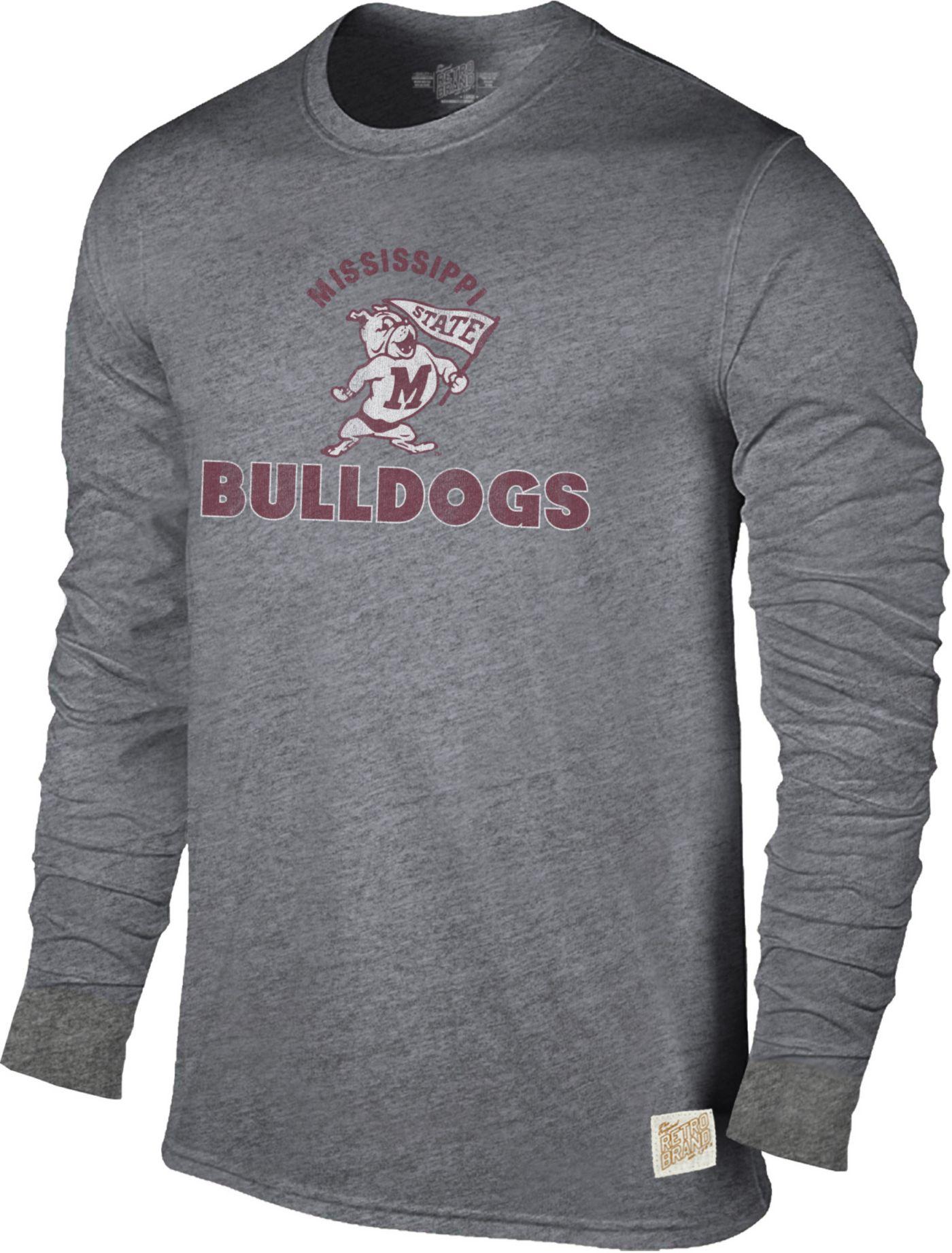 Original Retro Brand Men's Mississippi State Bulldogs Grey Tri-Blend Long Sleeve T-Shirt