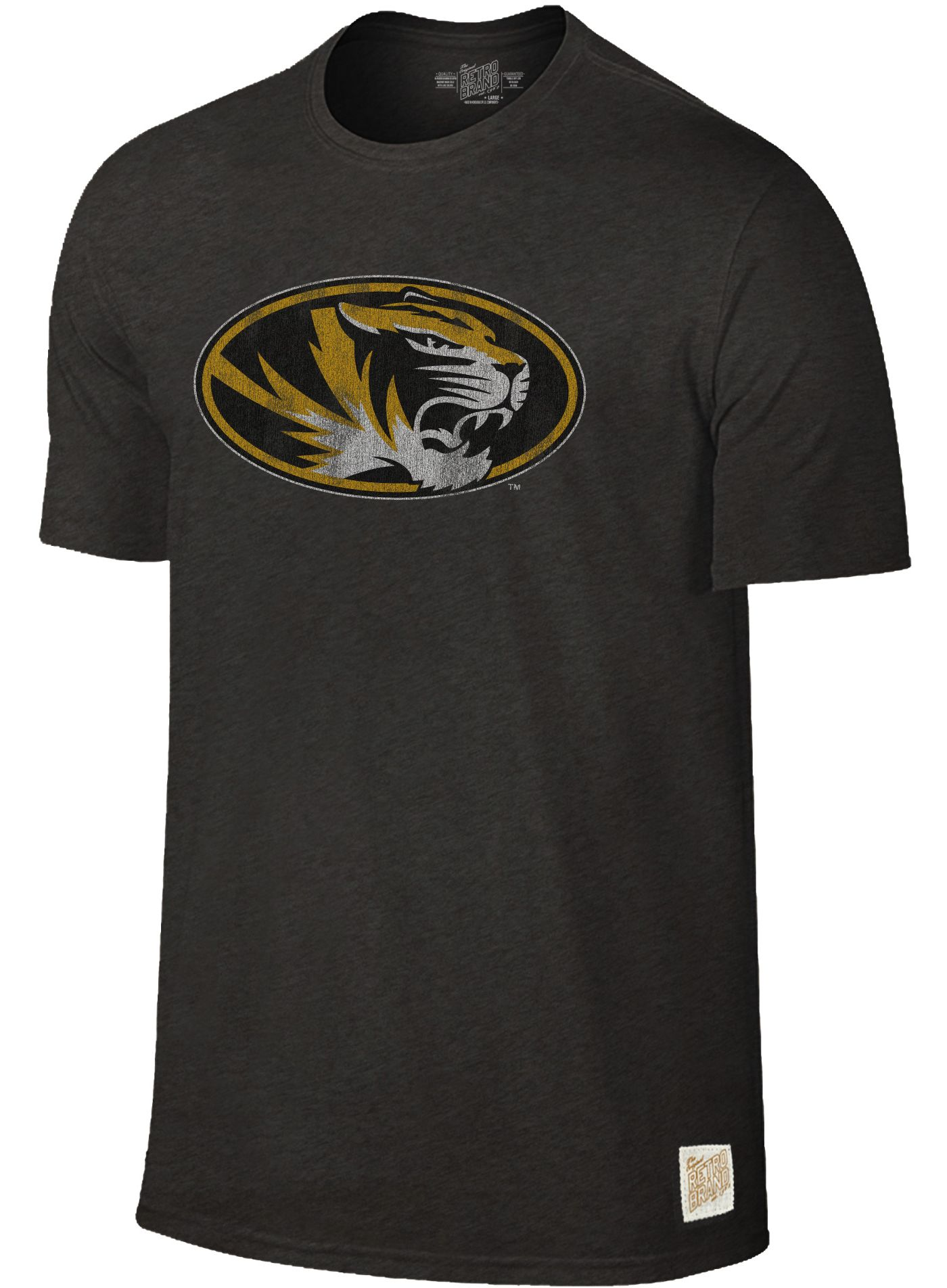 Original Retro Brand Men's Missouri Tigers Dual Blend Black T-Shirt