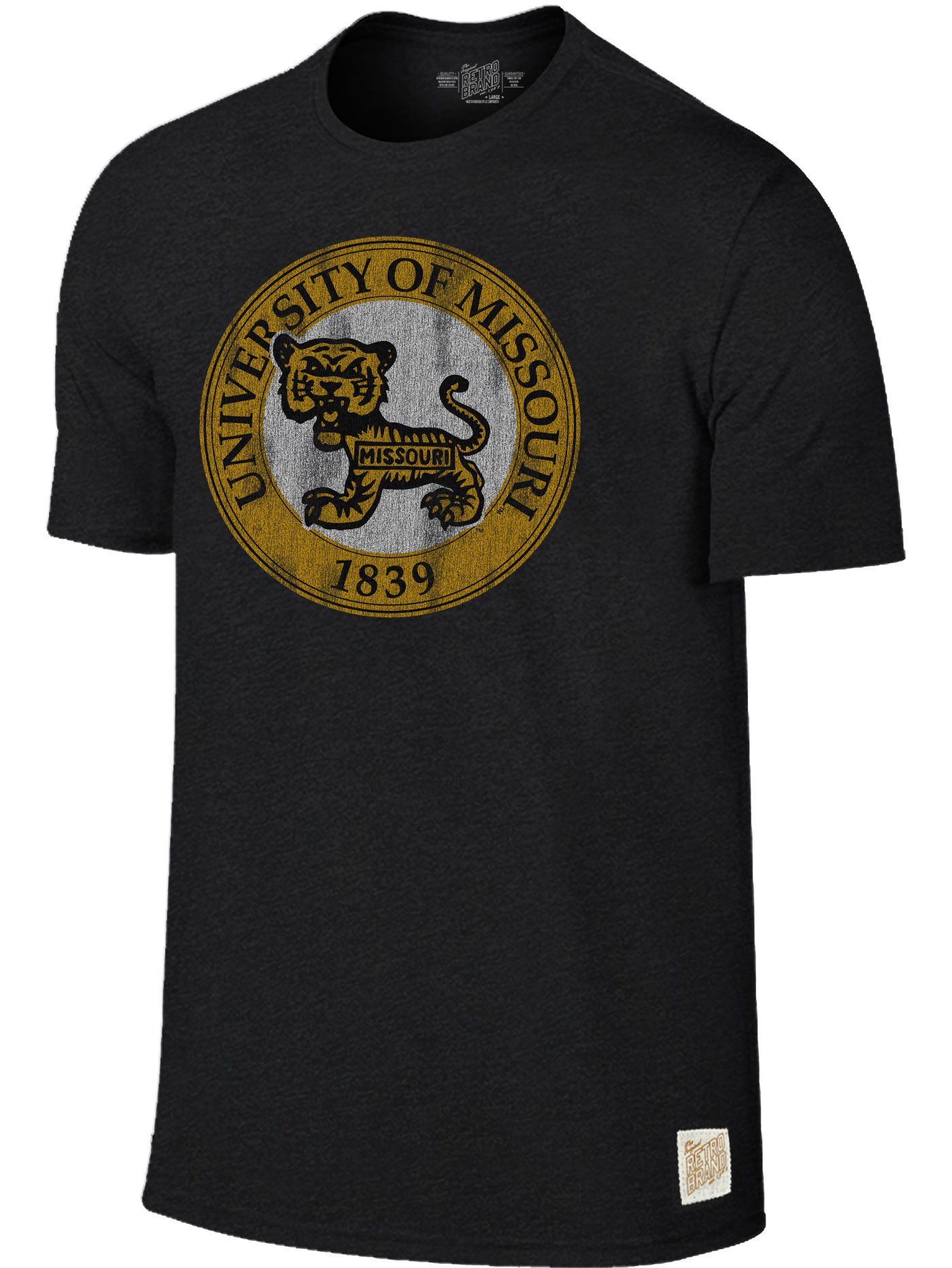 Original Retro Brand Men's Missouri Tigers Mock Twist Black T-Shirt