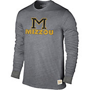 Original Retro Brand Men's Missouri Tigers Grey Tri-Blend Long Sleeve T-Shirt