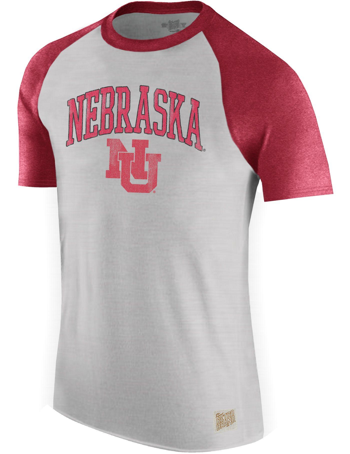 Original Retro Brand Men's Nebraska Cornhuskers Grey/Scarlet Raglan T-Shirt