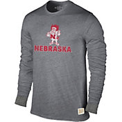 Original Retro Brand Men's Nebraska Cornhuskers Grey Tri-Blend Long Sleeve T-Shirt