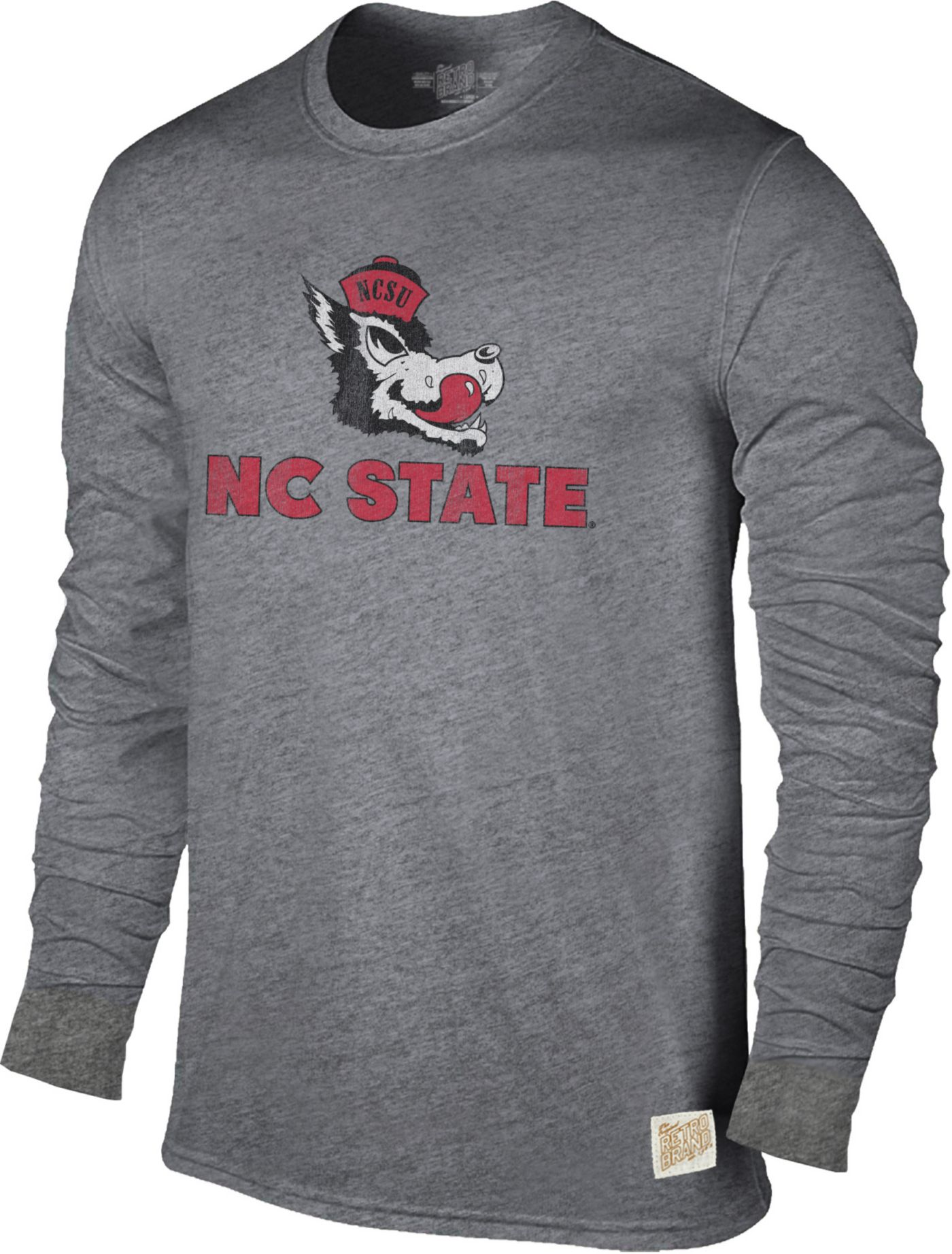 Original Retro Brand Men's NC State Wolfpack Grey Tri-Blend Long Sleeve T-Shirt