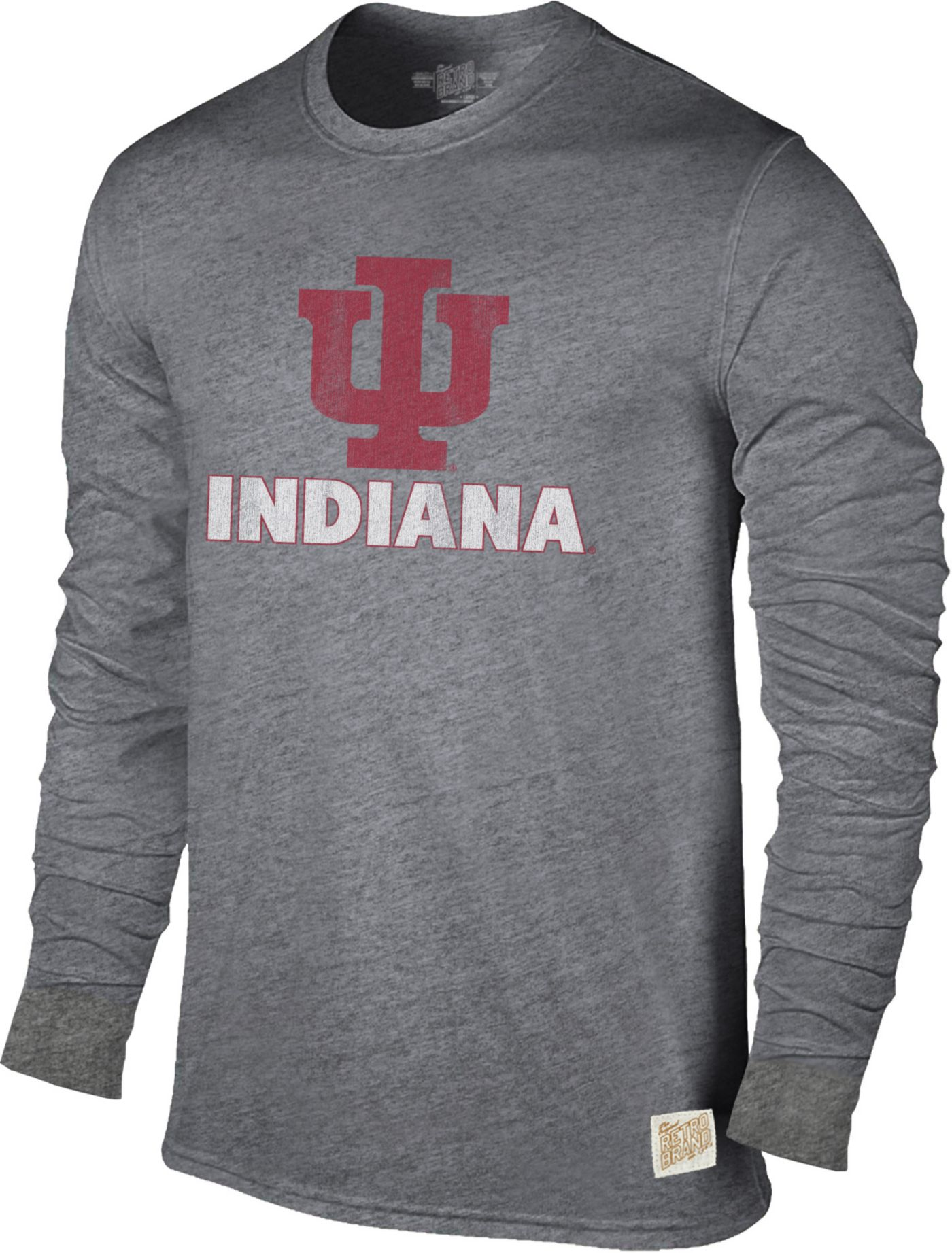 Original Retro Brand Men's Indiana Hoosiers Grey Tri-Blend Long Sleeve T-Shirt