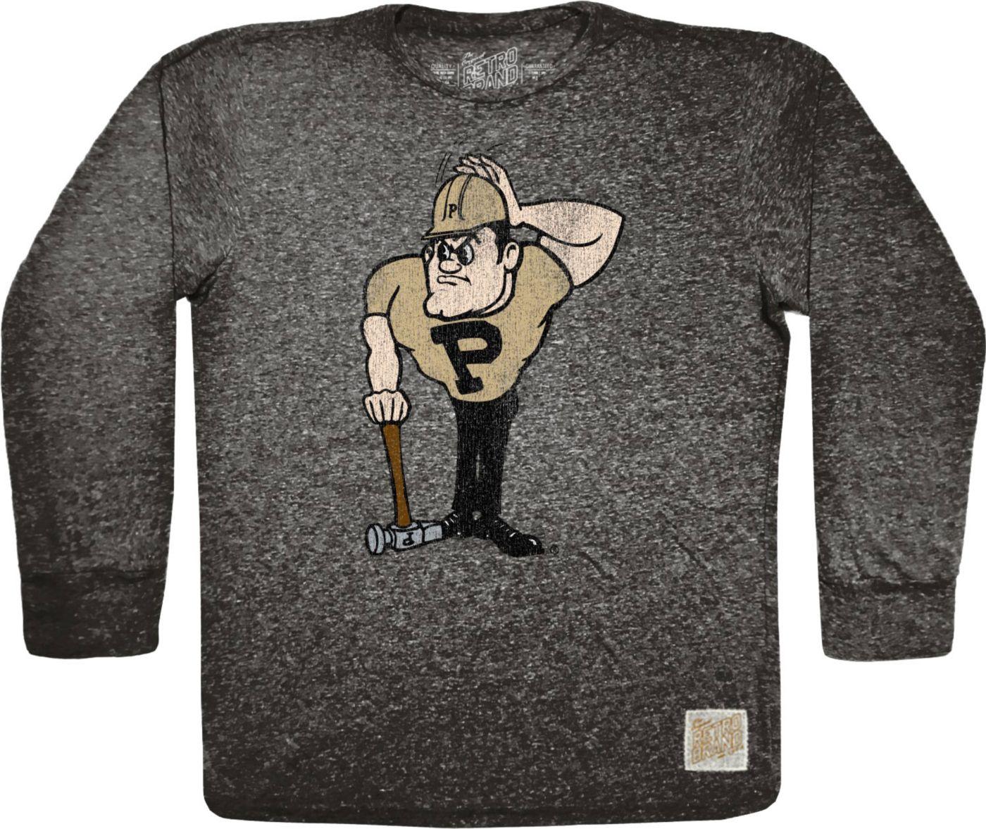 Original Retro Brand Men's Purdue Boilermakers Tri-Blend Long Sleeve Black T-Shirt
