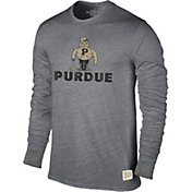 Original Retro Brand Men's Purdue Boilermakers Grey Tri-Blend Long Sleeve T-Shirt
