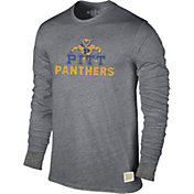 Original Retro Brand Men's Pitt Panthers Grey Tri-Blend Long Sleeve T-Shirt