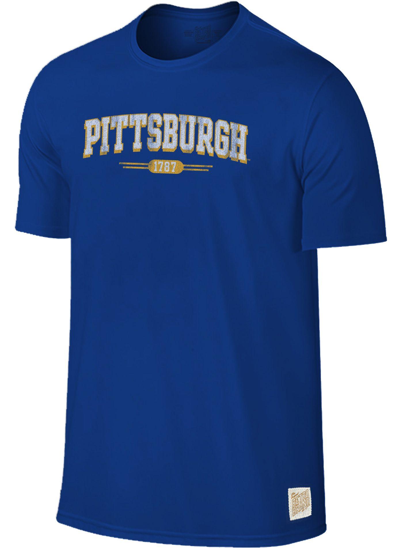 Original Retro Brand Men's Pitt Panthers Blue Slub T-Shirt