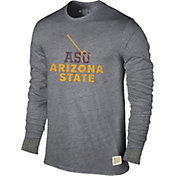 Original Retro Brand Men's Arizona State Sun Devils Grey Tri-Blend Long Sleeve T-Shirt