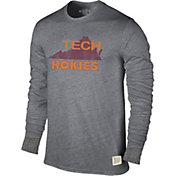 Original Retro Brand Men's Virginia Tech Hokies Grey Tri-Blend Long Sleeve T-Shirt