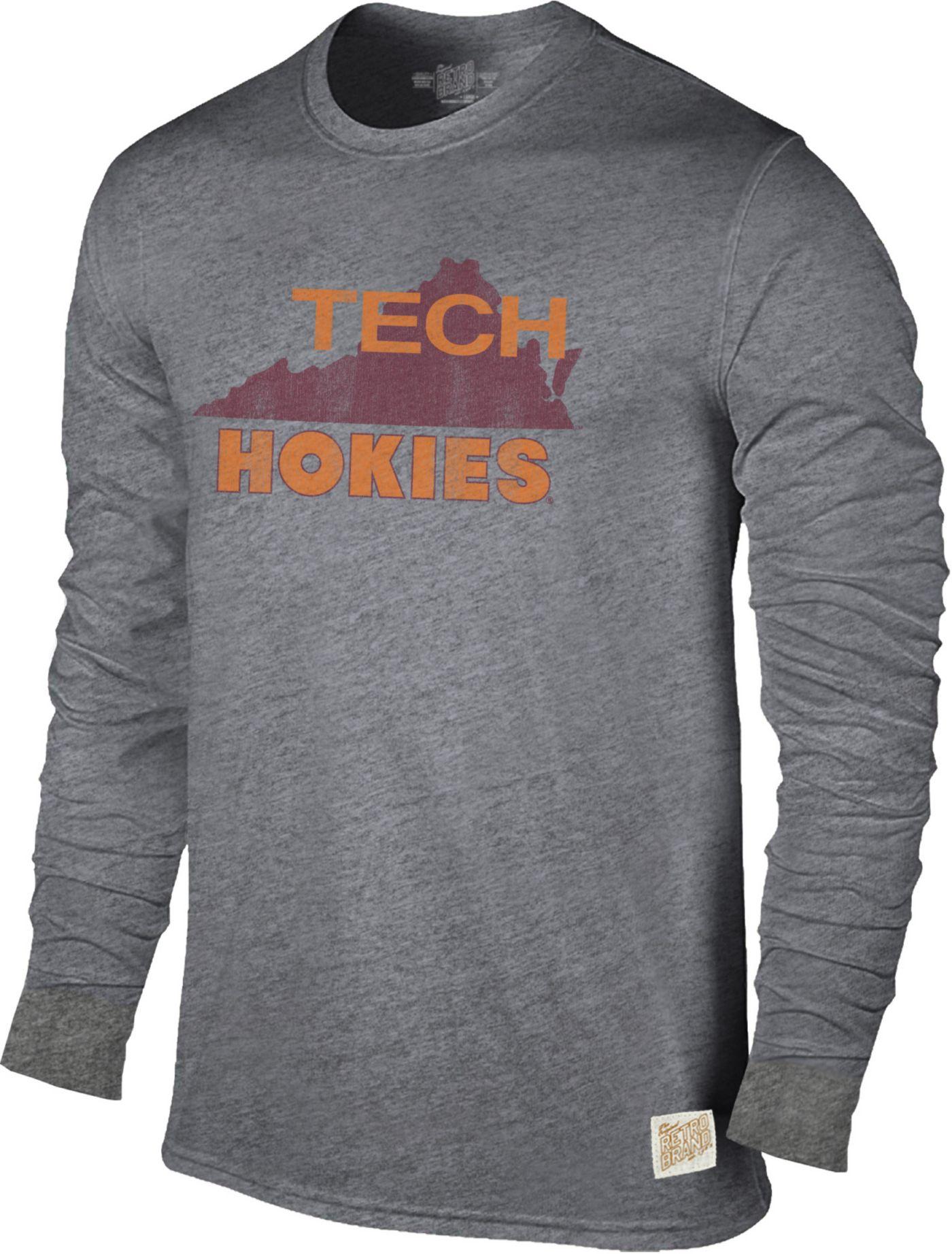 Original Retro Brand Men's Virginia Tech Hokies Grey Tri-Blend Long Sleeve T-Shirt