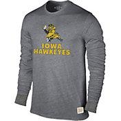 Original Retro Brand Men's Iowa Hawkeyes Grey Tri-Blend Long Sleeve T-Shirt