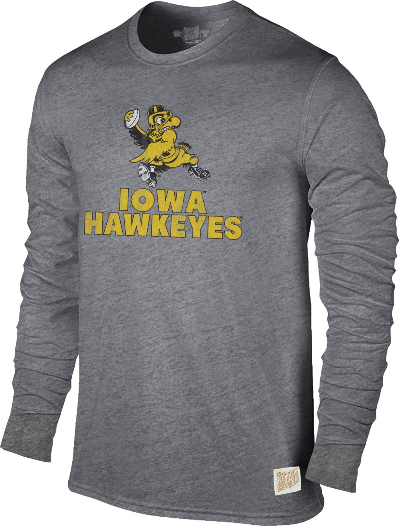 Original Retro Brand Men's Iowa Hawkeyes Grey Tri-Blend Long Sleeve T-Shirt