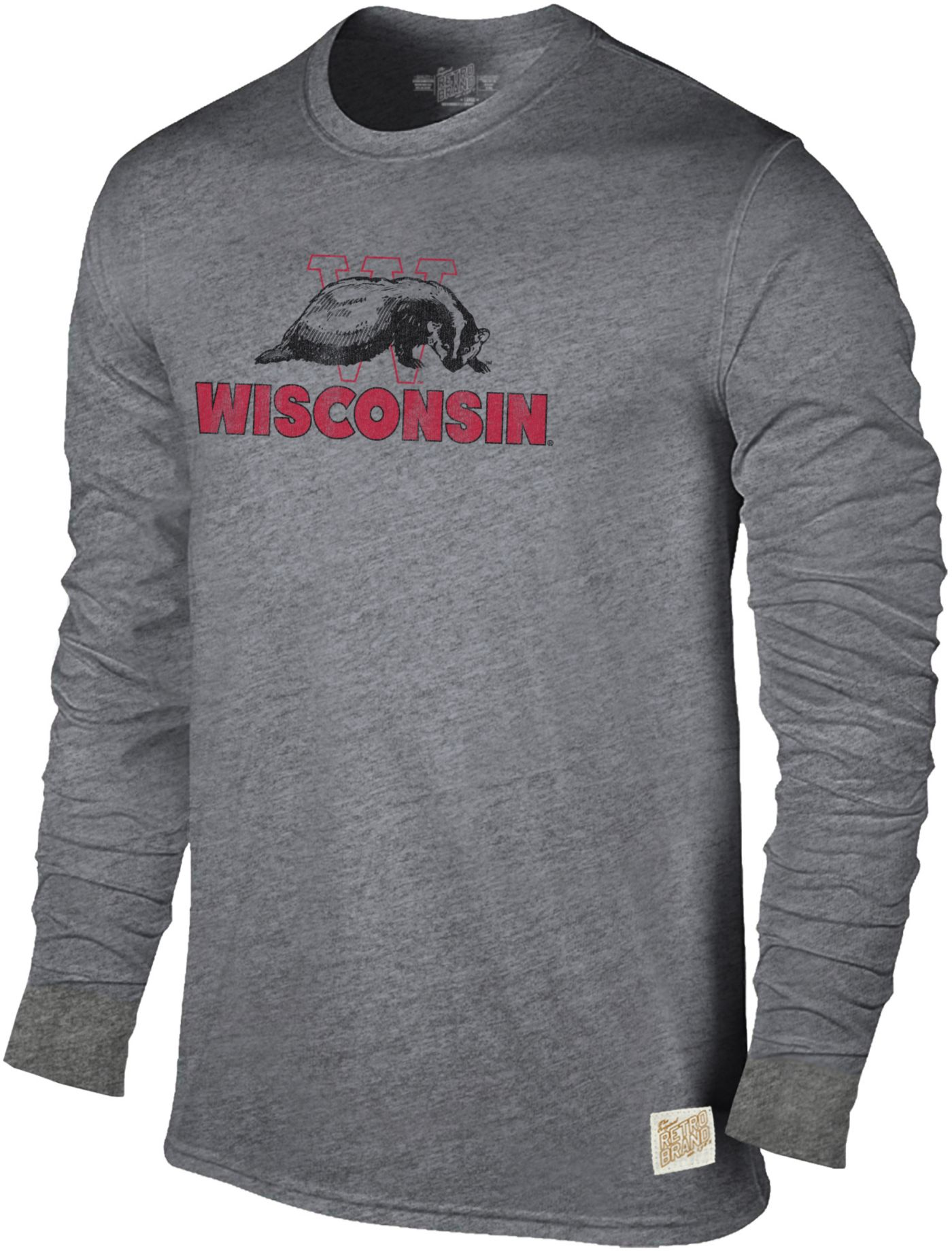 Original Retro Brand Men's Wisconsin Badgers Grey Tri-Blend Long Sleeve T-Shirt