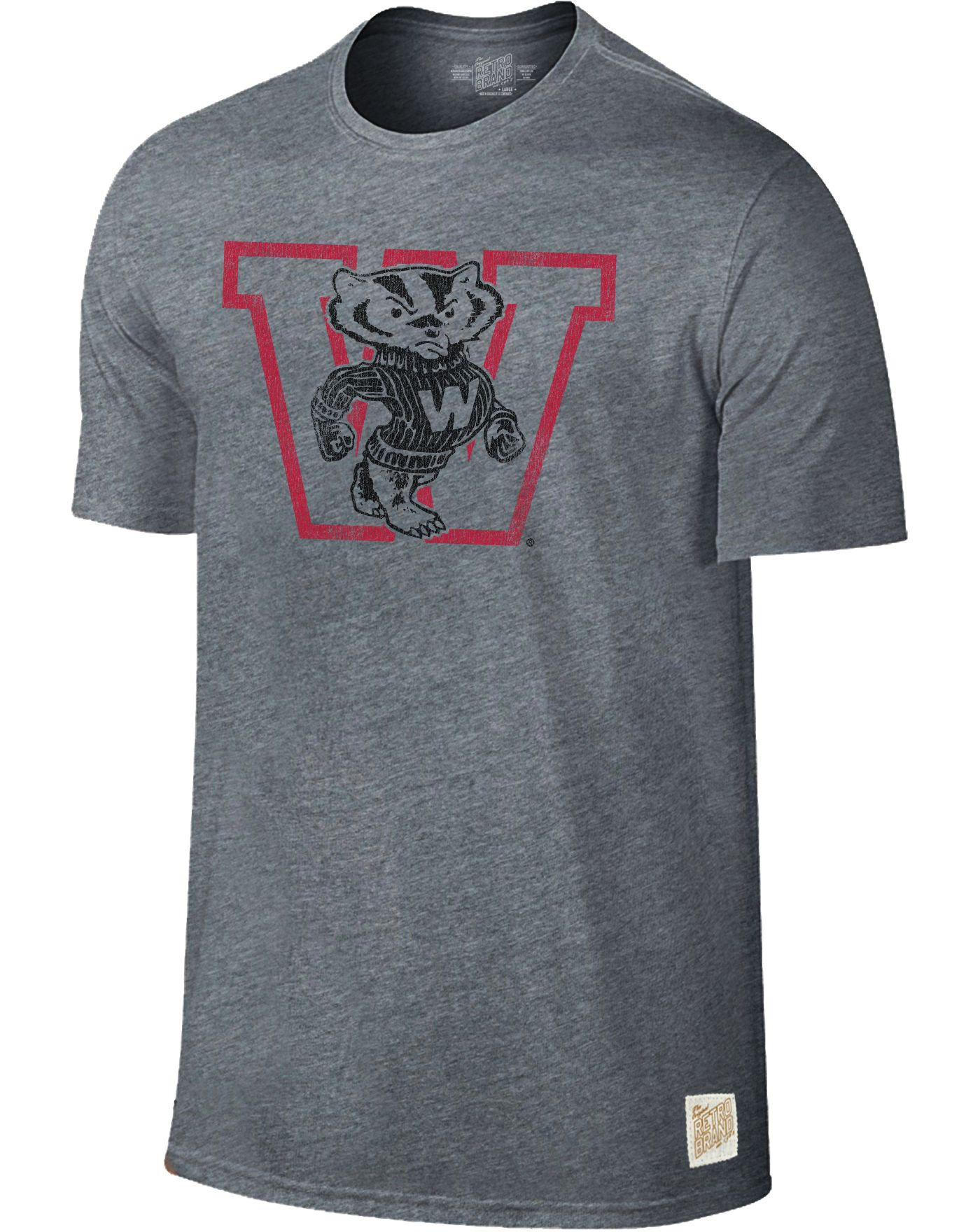 Original Retro Brand Men's Wisconsin Badgers Grey Retro Tri-Blend T-Shirt
