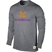 Original Retro Brand Men's Washington Huskies Grey Tri-Blend Long Sleeve T-Shirt